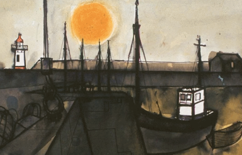 Boat and Sun Whitehaven painting by Percy Kelly