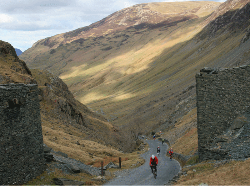 Road cycling Honister Pass in The Lake District