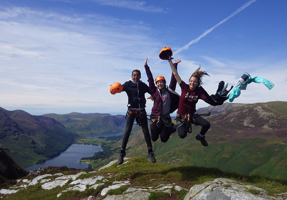 Honister slate mine, people jumping for joy